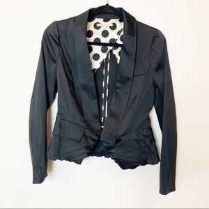 Maje Cropped Peplum Black Blazer Jacket